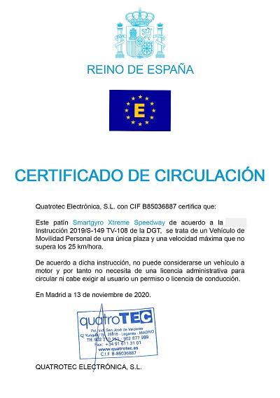certificado de circulacion speedway