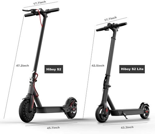 diferencia de tamaño entre patinetes Hiboy S2 y S2 lite
